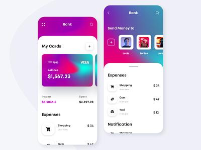 Banking App popular gradient colores brand icon ios design ux mobile app design business card card design bankcard bank app card banking app bank application ui branding uiux
