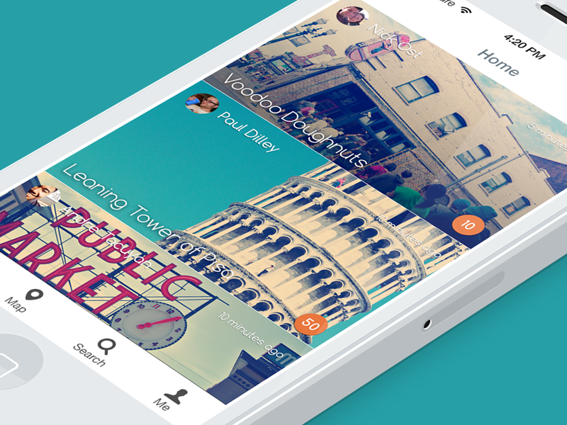 Navi Home screen ui home ux location find place locate feed explore navigation adventure