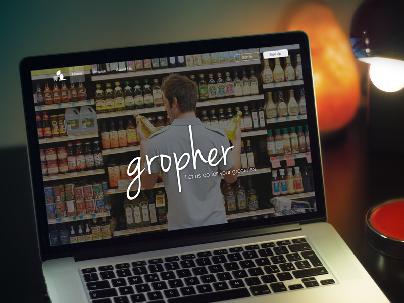 Gropher Landing Page startup weekend seattle gropher groceries service web sign in up buy