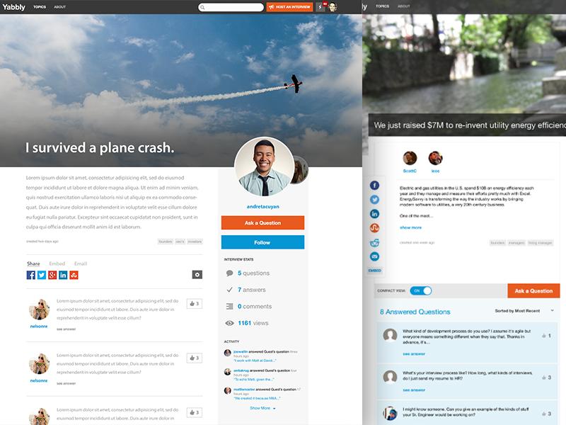 Yabbly Interviews Redesign web ama ask landing social visual ui minimal clean redesigned informational internship