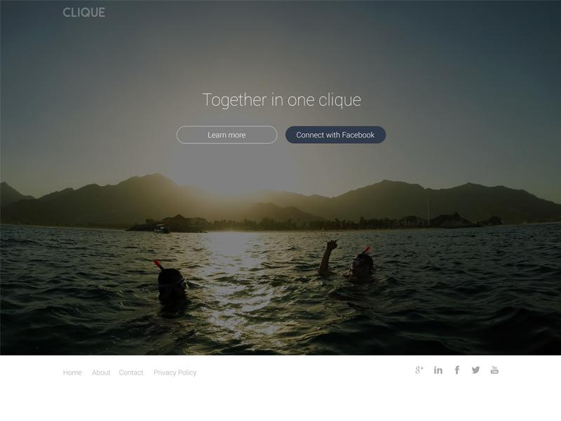 Clique Landing Page landing page responsive web design simple events hackathon clean connect desktop web andre