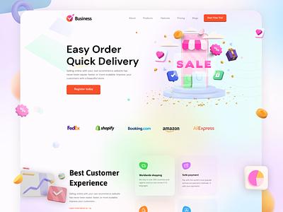 Ebusiness & Ecommerce Website Template illustration design wordpress ebusiness ecommerce web development web design landing page uiux ux ui