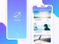 Travel App UI Kit Design - 'Splash' & 'Discover Places' Screens