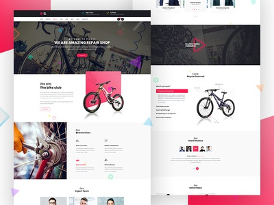 Car & Bicycle Repair Theme Design - Home Version 1 landing page design landing page landing ux ui uiux ux design ui design web design website design wordpress theme theme design