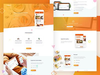 Food App Landing Page Design app interface wordpress theme ux ui design theme design service page landing page landing