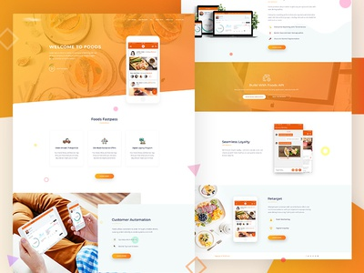 Food App Landing Page Design app interface wordpress theme ux ui design theme design service page landing page landing