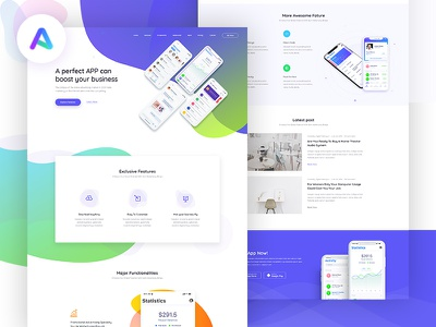 Appland - App landing theme on ThemeForest landing page design landing page landing ux ui uiux ux design ui design web design website design wordpress theme theme design