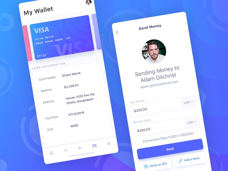 Financial App Design Concept - My Wallet & Send Money mobile application mobile ui android design ios design iphone application design mobile app design app design ux design ui design ux ui