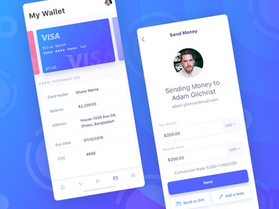 Financial App Design Concept - My Wallet & Send Money mobile application mobile ui android design ios design iphone application design mobile app design app design ux design ui design ux ui