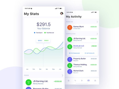 Financial App Design Concept - Statistics and Activity screens ui ux statistics financial app app design mobile app design iphone application design ios design android design mobile ui mobile application