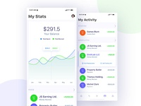 Financial App Design Concept - Statistics and Activity screens