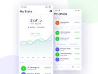 Financial App Design Concept - Statistics and Activity screens