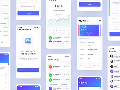 Financial Mobile App Design iOS UI Kit - WIP ui ux ui design ux design app design mobile app design iphone application design ios design android design mobile ui mobile application