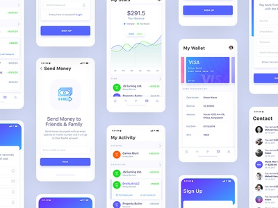 Financial Mobile App Design iOS UI Kit - WIP ui ux ui design ux design app design mobile app design iphone application design ios design android design mobile ui mobile application