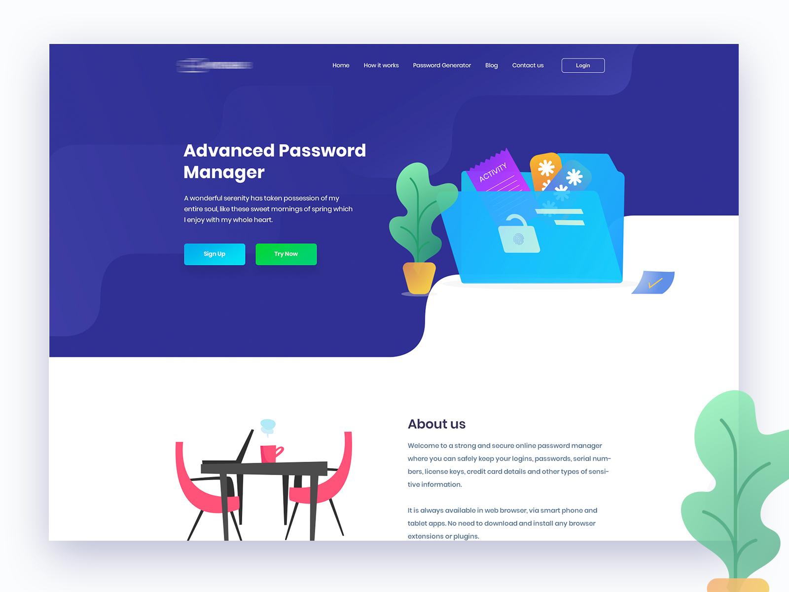 Aug 27 password manager web design illustration ui ux design website design