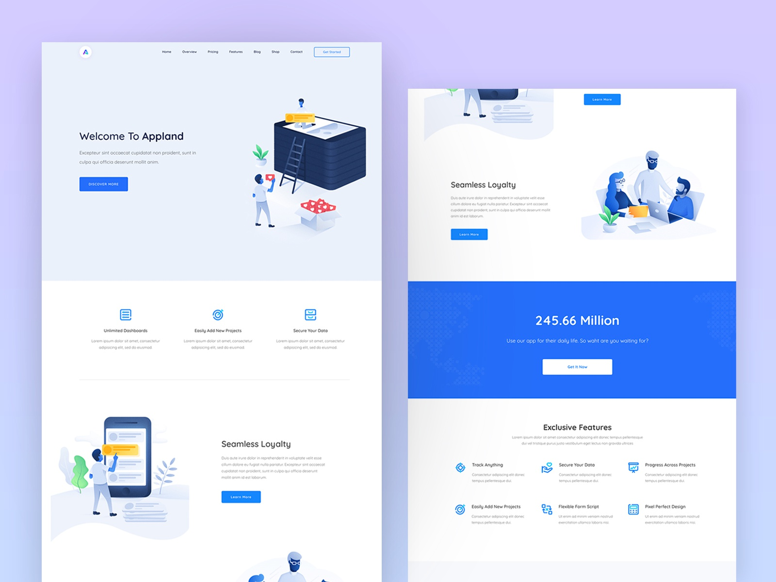 Appland app software saas startup showcase theme landing page design by droitlab