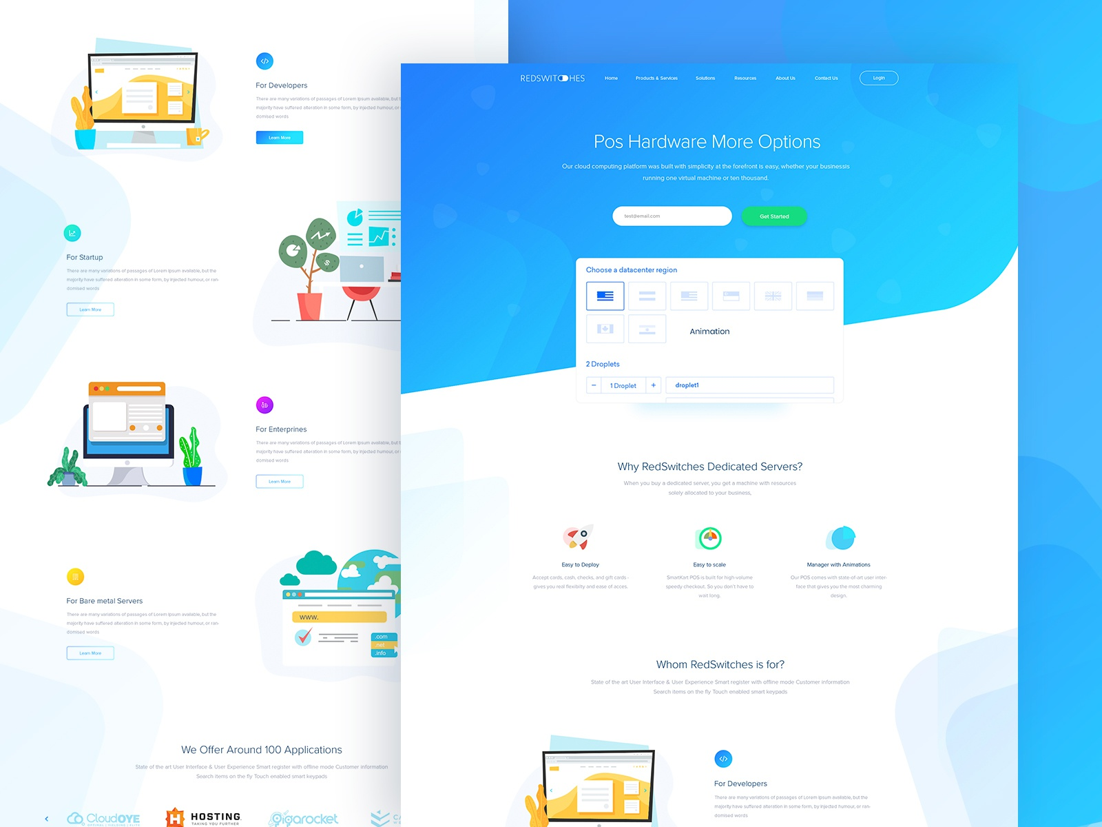 Hosting server startup agency website web design ui ux interface user experience by droitlab