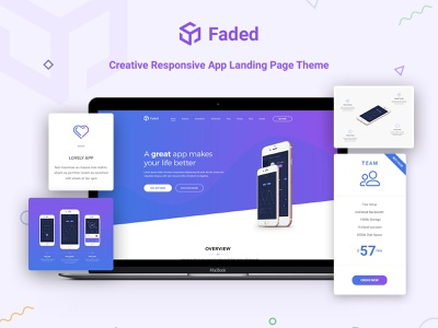 Faded - App Landing Wordpress Theme On ThemeForest landing page design web design ui design app landing page landing page app showcase theme app landing theme app theme themeforest theme design theme wordpress theme