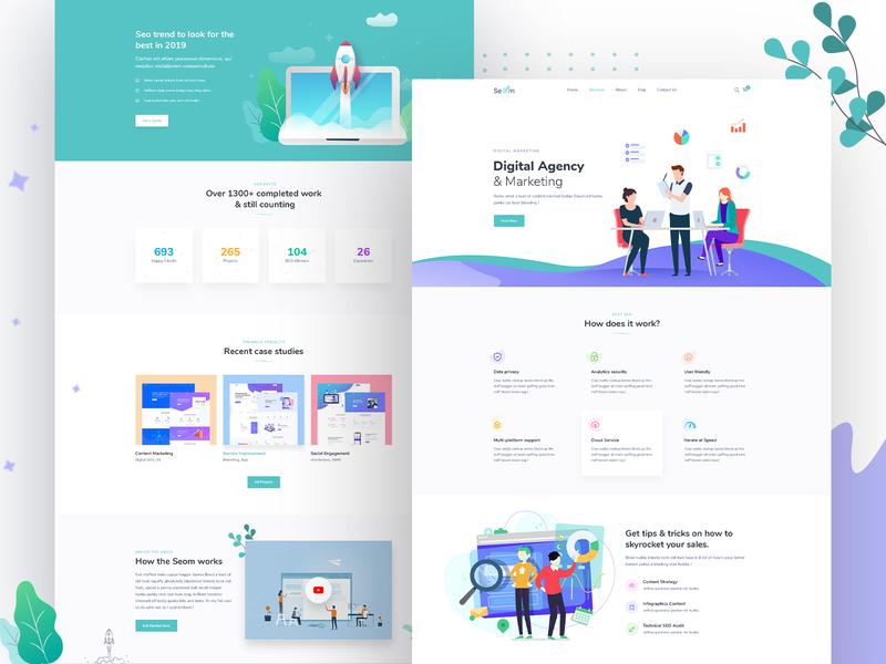 Seom Digital Marketing   Seo Wordpress Theme ui landing page design theme design landing uiux illustration web application design website design landing page web design ux design ui design ux
