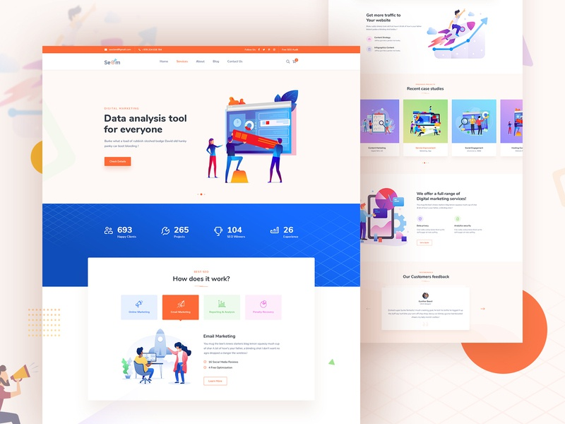 Seom Digital Marketing Seo Wordpress Theme - Home wordpress theme illustration uiux landing theme design landing page design website design landing page ux design web design ui design ui ux