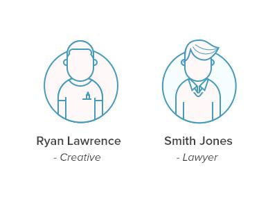 Personas icons illustration personas people circle line
