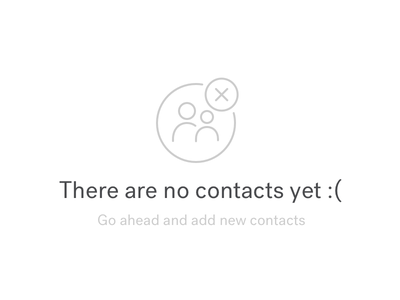 No Contact blank slate icon ui