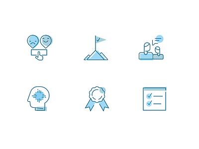 Work Analytics Icons blue web ui icons