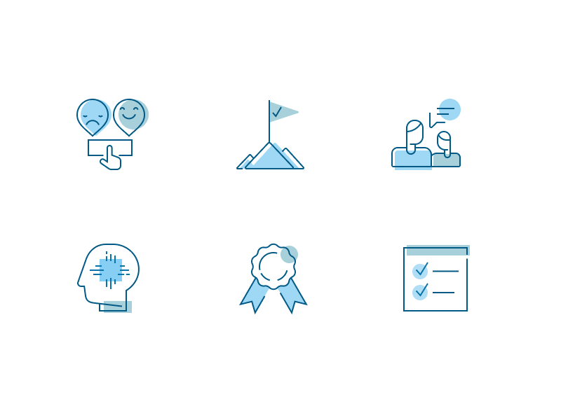 Work Analytics Icons blue web ui icons