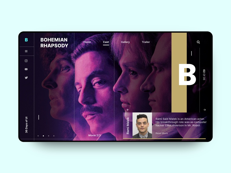36 Days of UI- B for Bohemian Rhapsody landing page interface concept homepage ux application design dailyui ui 36daysofui