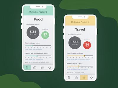 DailyUI #004 Carbon Footprint Calculator calculator carbon footprint dailyui mobile ui ux