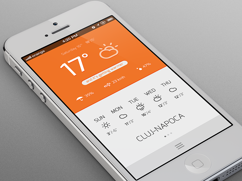 Weather App iphone weather app orange flat