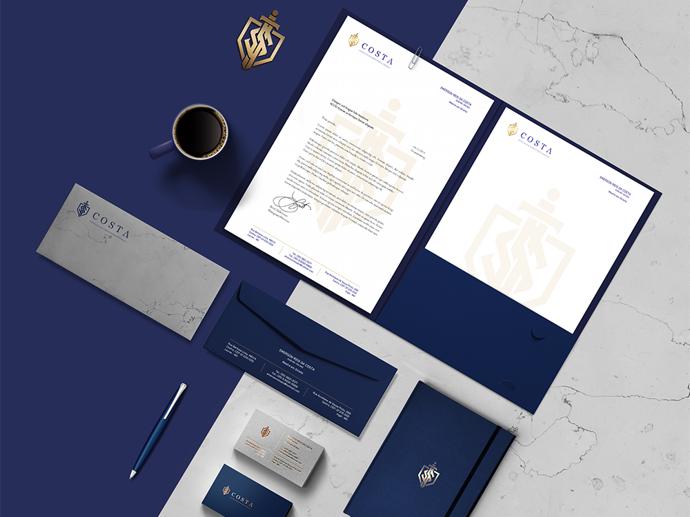 Costa Law Firm monogram stationery lawyers lawyer logotypo logo design branding logo