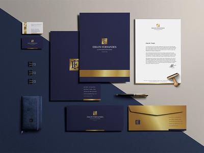 Erlon Fernandes Branding Identity hotstamping golden identity branding lawyer lawfirm design stationery logodesign logo