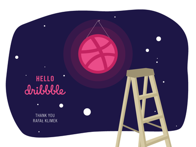 Hello Dribbble! hello dribbble invite illustration cosmos space moon debut first shot