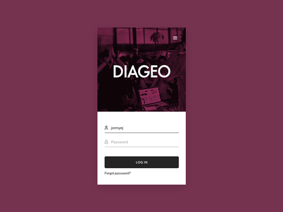 Diageo password username login log in brilliant noise diageo mobile website