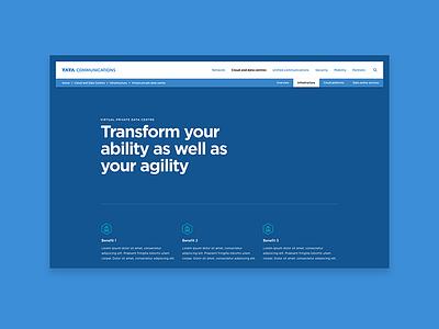 Tata Communications product page product brilliant noise tata communications tata typography minimal desktop design website