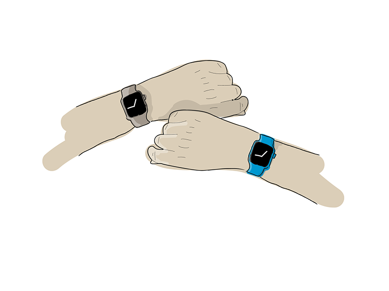 Left & Right left right hand apple watch illustration
