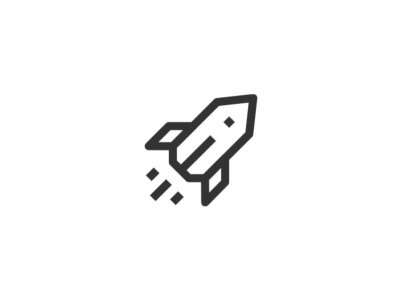 Pocket Rocket line diagonal icon rocket