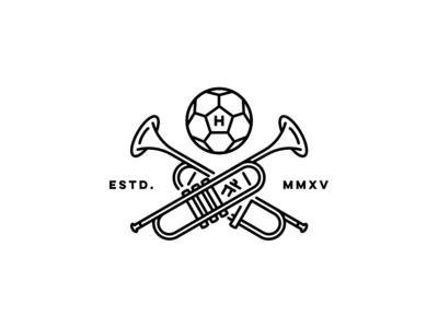 Le foot et la musique lines logo music soccer football trumpets