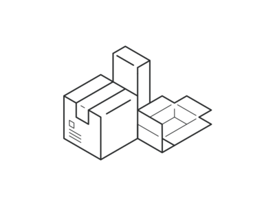 Iso Boxes illustration lines line art packing boxes isometric