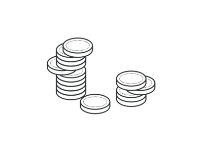 Coins illustration line art isometric coins