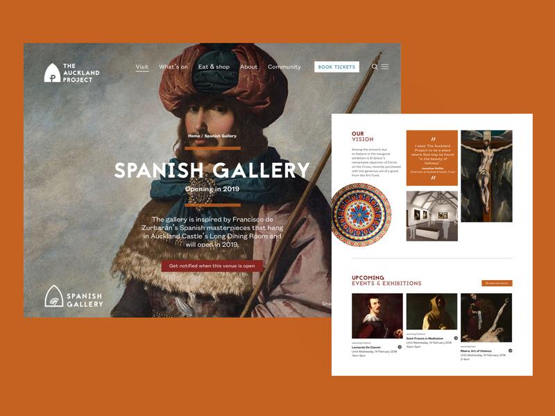 The Auckland Project - Venue Landing page culture art spanish historic orange responsive desktop ux ui website web
