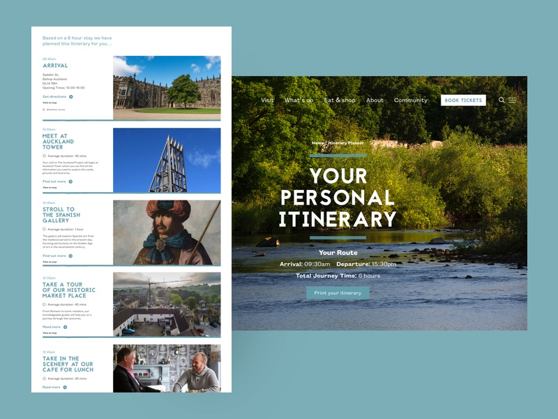 The Auckland Project - Itinerary Planner visitor itinerary blue personal clean responsive desktop ux ui website web