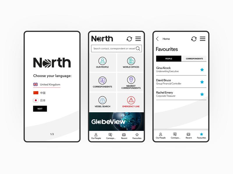 North App clean corporate ux ui design app