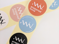 "Stickers, part of the ""Prepared Mind"" branding"