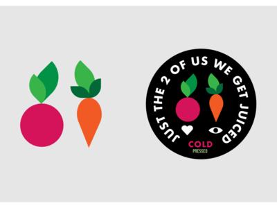 Just the 2 of us eyes heart health love designer design logo carrots beets juice