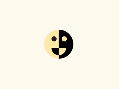 Moon colors nature designer minimalism mark bold illustration vector design branding simple fun logo negative smile