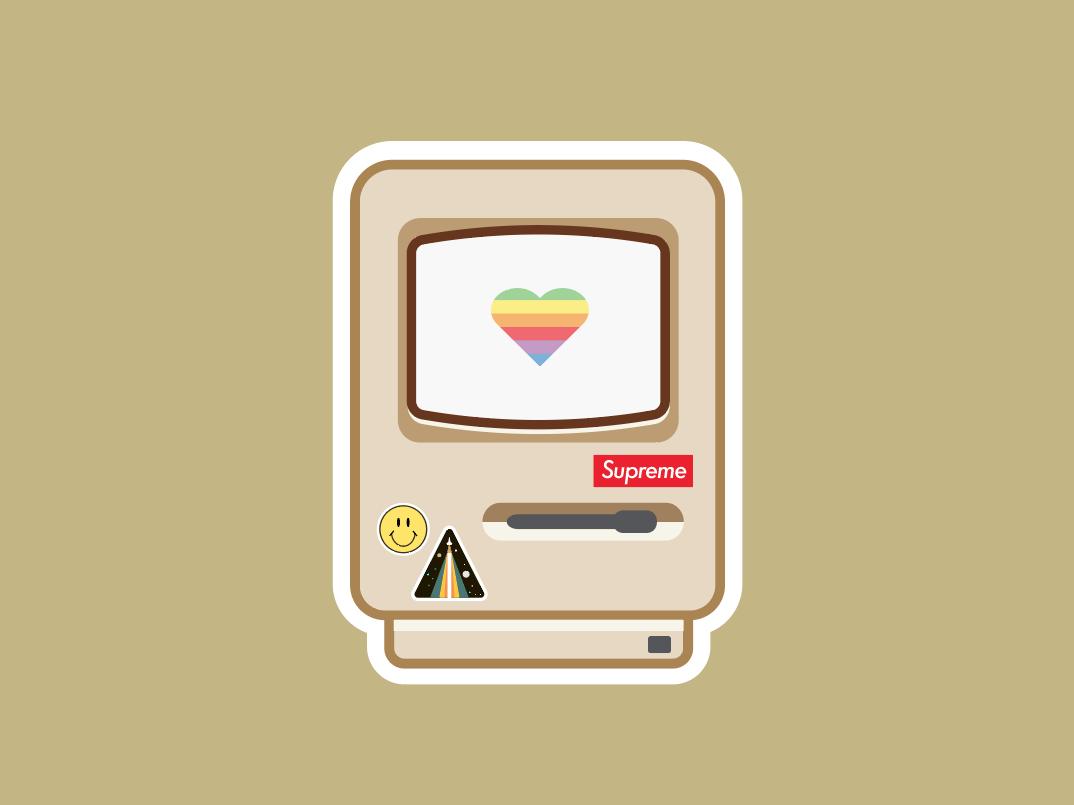 35 years vector stickers supreme designer colors illustration design computer macintosh apple minimalism logo