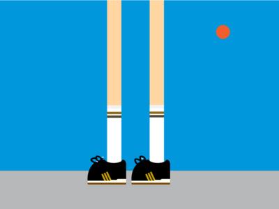 Walking (G)old school sky sun socks poster design illustration old school stripes sneakers