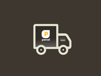 Parcel minimalist lines branding logo icon graphic design daily delivery parcel truck